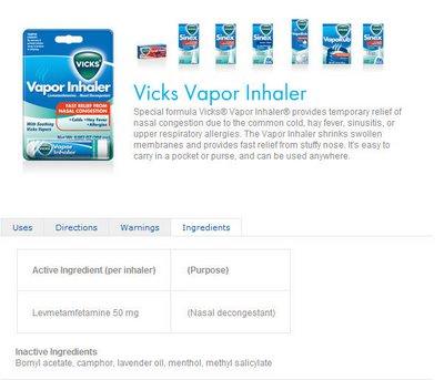 vicks Inhaler L-metamfetamin