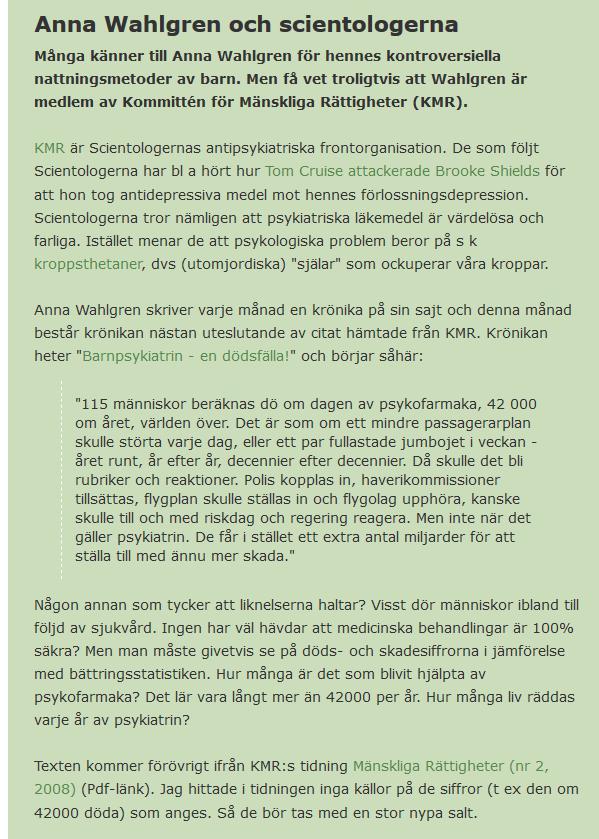 Anna Wahlgren och scientologerna